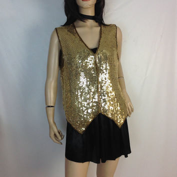 Summer Sale Gold Sequin Vest  Vintage 80s Trophy Top  Lawrence Kazar  Menswear Tuxedo Vest Disco Glam Top  Club Kid Shirt Holiday Party Top