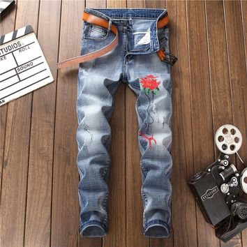 2018 New Brand Fashion Designer Men's Skinny Jeans Male Casual Distressed Ripped Floral Embroidered Patches Stretch Denim Pants