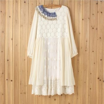 Japanese Mori Girl Retro Hippie Boho Appliques Flroal Crochet Chiffon Patchwork Long Sleeve White Lace Ruffle Women Autumn Dress