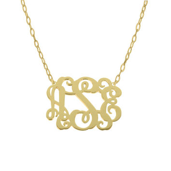 "Personalize  Gold Monogram necklace 1"" Any initial Monogram Pendant 18k Gold Plated Monogram necklace Gold Monogram"