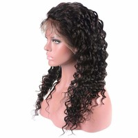 Lace Front Human Hair Wigs Brazilian Deep Wave Wig