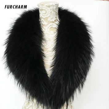 100% Real Rraccoon Fur Collar Scarf Genuine Big Size Scarves Warp Shawl Neck Warmer Stole Muffler 80cm/90cm/100cm