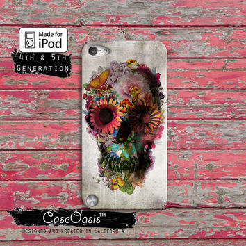 Flower Sugar Skull Cute Tumblr Inspired Art Custom Case iPod Touch 4th Generation or iPod Touch 5th Generation Rubber or Plastic Case