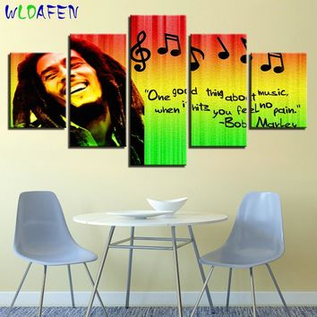 music art poster HD Prints Pictures Home Decor Modular Canvas Wall Art 5 Pieces Bob Marley Painting For Living Room Music Poster