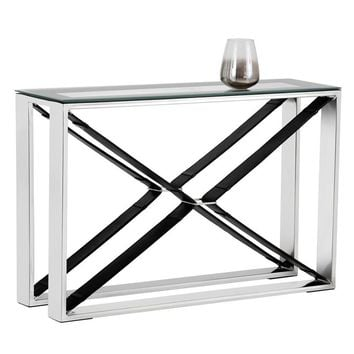 MAVI POLISHED STAINLESS STEEL-BLACK LEATHER FRAME WITH TEMPERED GLASS TOP CONSOLE TABLE