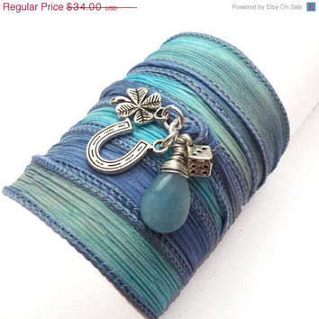 Silk Ribbon Bracelet with Lucky Charms,yoga jewelry,wrapped, wrapping, wrap around,wrist wrap