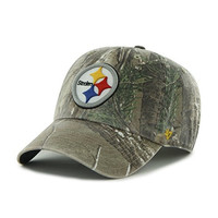 NFL Pittsburgh Steelers '47 Brand Big Buck Clean Up Adjustable Hat (Realtree Camouflage, One Size)