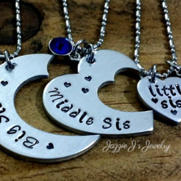 Big Sis, Middle Sis, Lil Sis 3 Piece Necklace Set, Three Necklace Set, Hand Stamped 3 Piece Cut Heart, Mothers Day, Customize-Sister Jewelry