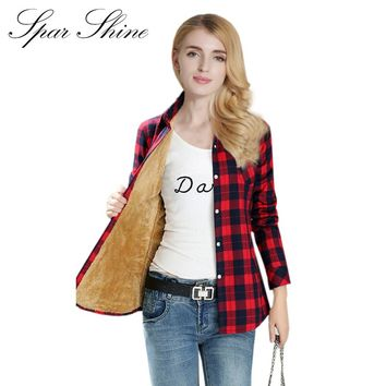 SPARSHINE Women's Plaid Shirt 20 Colors Flannel Thick Warm Female Long Sleeve Tops M-XXL Winter Check Blouse Blusas Femininas
