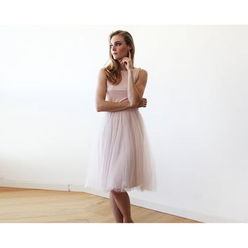 Baby Pink Midi Tulle Dress with Open Back 1087