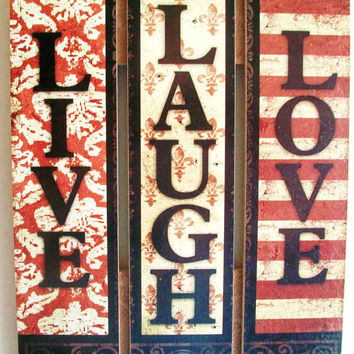 Live, Laugh, Love Picket Fence Style Reclaimed Wood, Sign, Home Decor, Brown, Beige