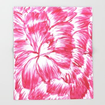 Pink and White Dahlia Throw Blanket by Lindsay