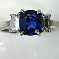 2.85ct Cushion Sapphire Diamond Engagement Ring 18kt White Gold JEWELFORME BLUE Birthday anniversary