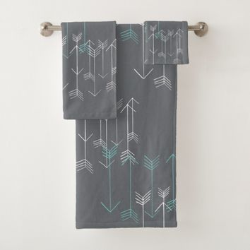 Rustic Arrows Gray Aqua White Towel Set