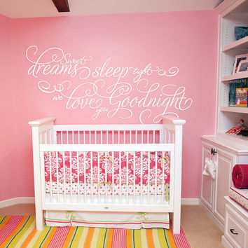Sweet Dreams Nursery Wall Decal, Sweet Dreams Stars Bedroom Sticker, Sweet Dream Nursery Room Wall Decor Art, Baby Shower Decor Mural se150