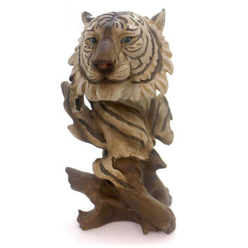 Animal White Tiger Bust Figurine