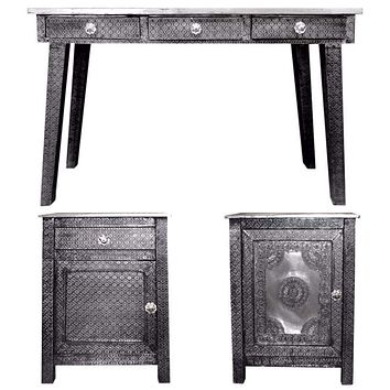 3 Piece Of Traditional Style Wooden Console Table with Desk, EN27285