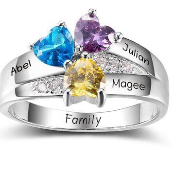 925 Sterling Silver 3 Heart 3 BirthStones 3 Names and engraving on inside of Mothers or  Grandmothers Ring