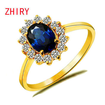 Genuine 18K Yellow Gold Ring natural sapphire Gem fine jewelry Precious stone woman rings anniversary wife noble elegant