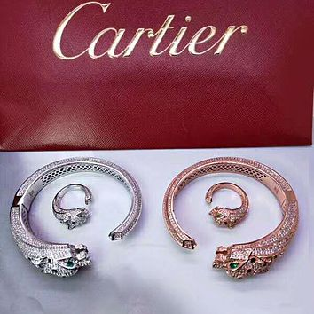 Cartier Stylish Women Men Chic Diamond Titanium Steel Ring Bracelet Set Two Piece Accessories Jewelry