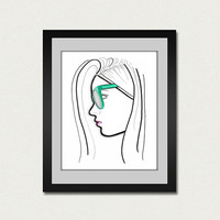 Fashion Illustration Art Print. Hipster fine art print.