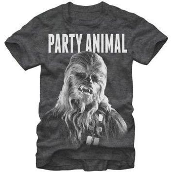 Star Wars Chewbacca Chewie Party Animal Licensed Adult Unisex T-Shirts - Grey