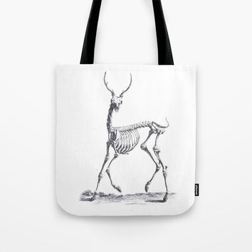 Vintage deer skeleton black and white animal print Art Print by IGallery