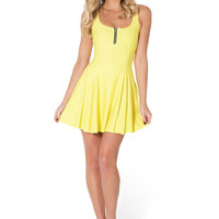 Matte Yellow Evil Zip Dress - LIMITED