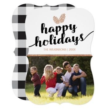 Christmas Holiday Pine Cones | Black White Card