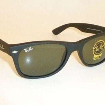 Kalete New RAY BAN Sunglasses Matte Black Rubber WAYFARER RB 2132 622 G-15 Glass 55mm