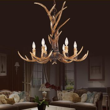 Europe Country 6 Head Candle Antler Chandelier American Retro Resin Deer Horn Lamps Home Decoration Lighting E14 110-240V