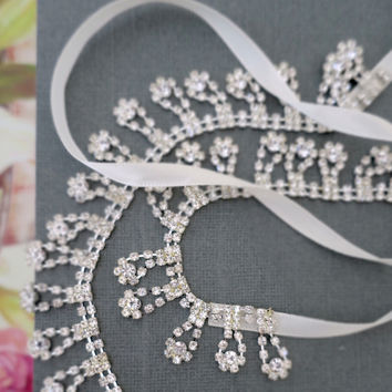 Crystal Bridal Headband with Ribbon, Rhinestone Headpiece Hair bands Sash