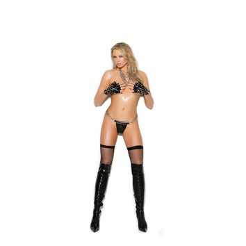 Elegant Moments EM-V9793 Vinyl g-string with O ring detail and chains