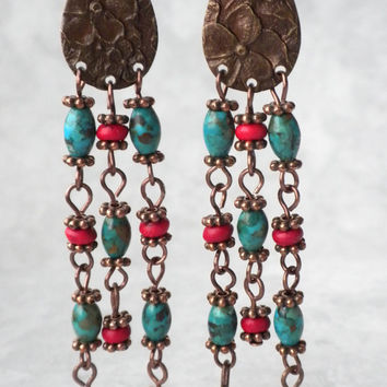 Long Turquoise and Red Coral Dangle Earrings, Southwestern Long Earrings, Turquoise and Red Earrings, Gemstone Extra Long Earrings