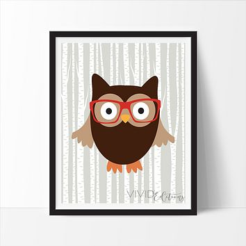 Hipster Woodland Owl