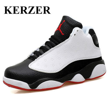 KERZER 2017 New Children Basketball Shoes Black Boys Girls Trainers Sport Boots Leather Basketball Sneakers Boys Sport Sneakers