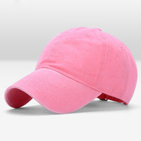 Pink Wash Canvas Ventilation Baseball Cap Women Men Hat