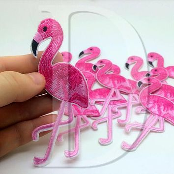 Flamingo  Animals  parches  Embroidered  Patches  Cloth