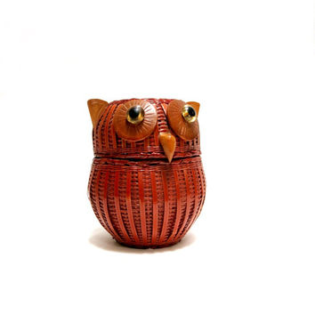 Rattan Owl Box Basket Woven Reed Wicker 1970s Home Decor