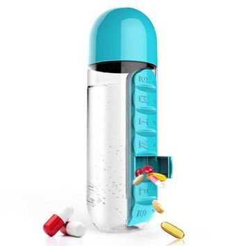 Sport Outdoor Sports Plastic Water Bottle With Built In Daily 7 Daily Pill Box Vitamin Organizer