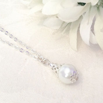 Pearl Necklace Pearl Jewelry Drop Pearl Necklace White Pearl Necklace Bridesmaids Wedding