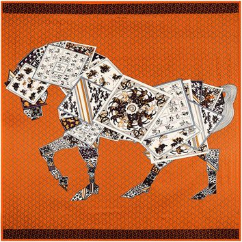 130cm*130cm High Quality Large Square Scarves Twill Shawls,Luxury Brand H Letter Poker Horse Print Silk Scarf For Women Headband