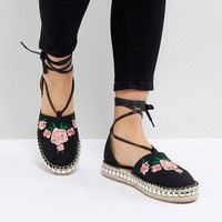 RAID Karla Black Embroidered Espadrilles at asos.com