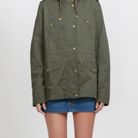 LE3NO Womens Lightweight Cotton Military Anorak Jacket with  Hoodie