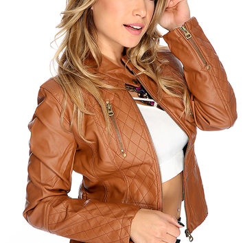 Winter Faux Leather Long Sleeves Cognac Moto Jacket