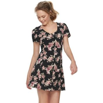 Juniors' Rewind Printed Button-Front Swing Dress | null