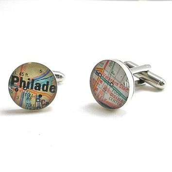 Veterans Stadium Vintage Map Cufflinks
