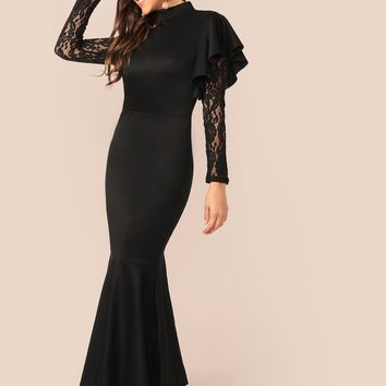 Ruffle Trim Sheer Lace Sleeve Fishtail Hem Dress