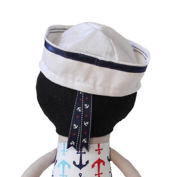 Handmade Boy Cloth Doll Sailor Boy Rag Doll Fashion Doll Soft Boy Doll with Clothes - sailor hat - MADE TO ORDER