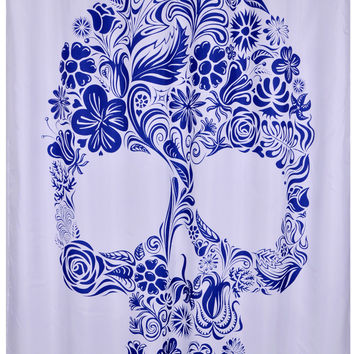 Bathroom Products Polyester Fabric Skull Printed Shower Curtain Waterproof  Washable Curtains